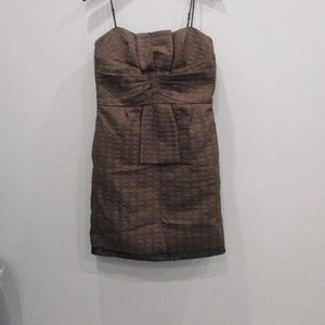 Max & Cleo Size 12 Brown Strapless Dress Fall
